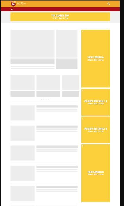 bảng demo vị trí quảng cáo trên kenh14.vn