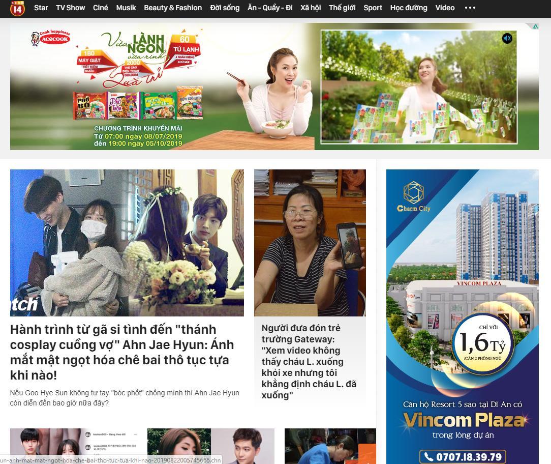 quảng cáo trên báo điện tử - kenh14