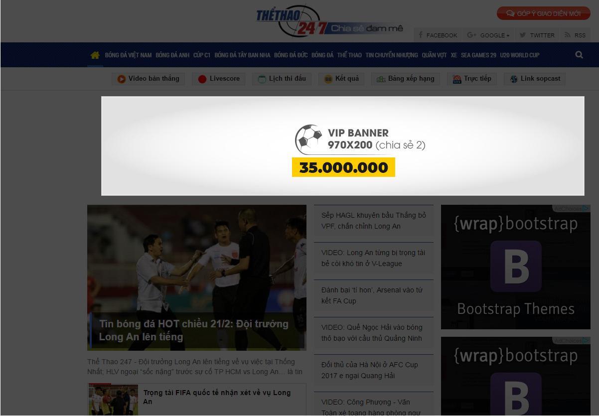 bảng giá quảng cáo thể thao 247