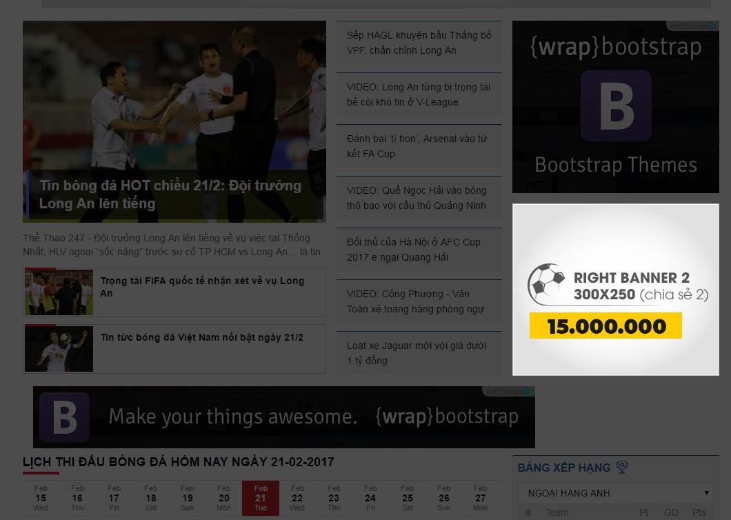 bảng giá quảng cáo trên thể thao 247