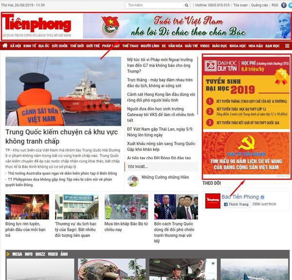 quảng cáo trên báo tiền phong online