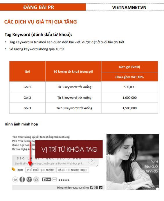 báo giá quảng cáo trên vietnamnet