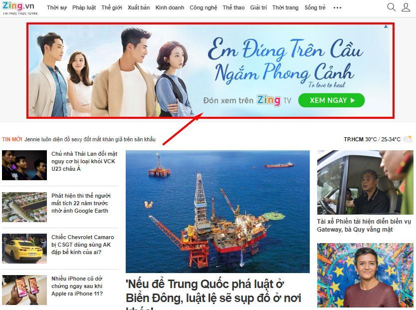 quảng cáo trên zing.vn