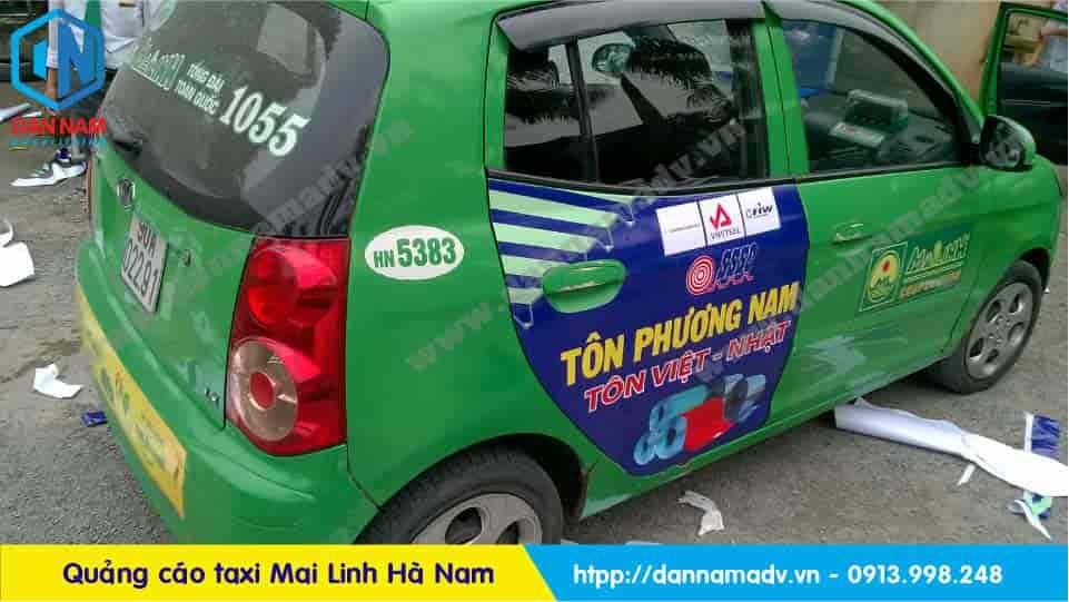 Quảng cáo taxi Hà Nam - Tôn Phương Nam quảng cáo trên taxi Mai Linh tại Hà Nam
