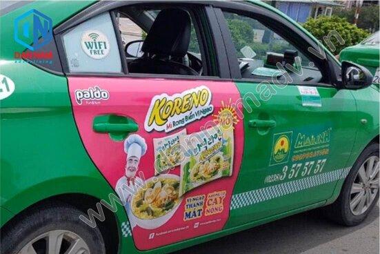 Quảng cáo taxi Mai Linh tại Hải Dương của mì Koreno