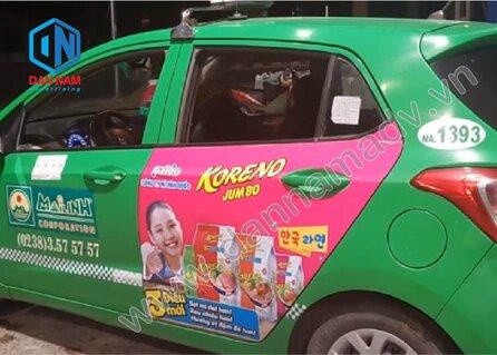 Quảng cáo trên taxi Phú Yên - dán quảng cáo 2 bên cửa xe taxi Mai Linh
