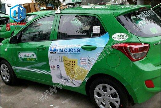 Nệm Kim Cương quảng cáo trên taxi Mai Linh Quảng Nam