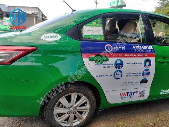 Truyền thông ngoài trời tại Sóc Trăng với hình thức dán decal lên xe taxi Mai Linh