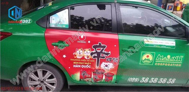 Quảng cáo taxi Mai Linh Tiền Giang - Mì Hàn Quốc Nongshim