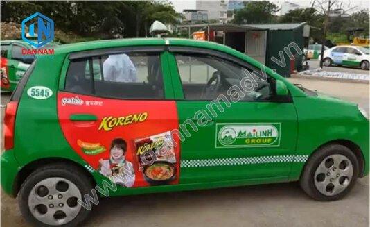 Quảng cáo trên taxi Mai Linh Mai Linh Trà Vinh - Mì Koreno