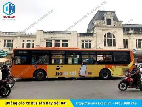 quảng cáo trên xe bus sân bay nội bài